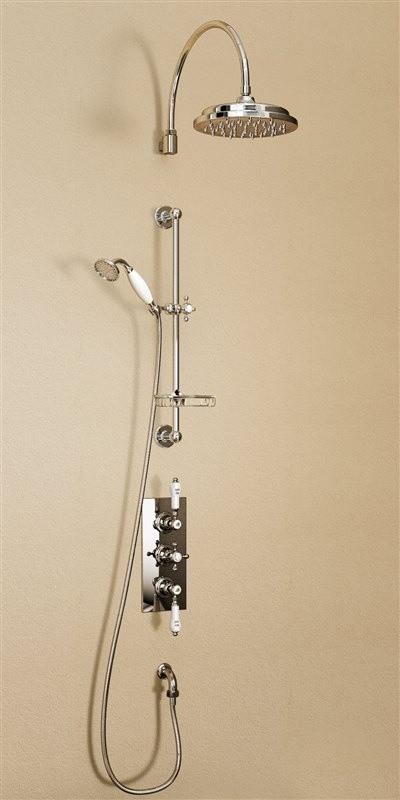 Душевая стойка с встроенным термостатом на 2 выпуска, верхняя лейка 228,6 см