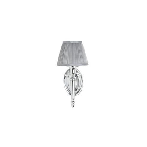 Декоративное бра с плиссированным абажуром серебряного цвета, никель