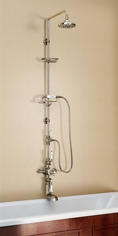Душевая стойка с внешним термостатом на 2 выпуска и изливом, верхняя лейка 228,6 см
