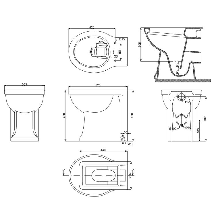 Унитаз Arcade пристенный ARC6 схема